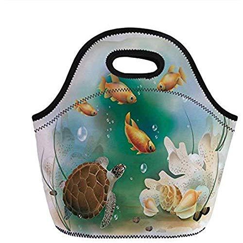 Schildpad, Artistieke Oceaan Leven Illustratie Aquarium Tropische Dieren Goudvissen en Zeekusten, Multi kleuren, voor Kinderen Volwassen Thermische Tassen