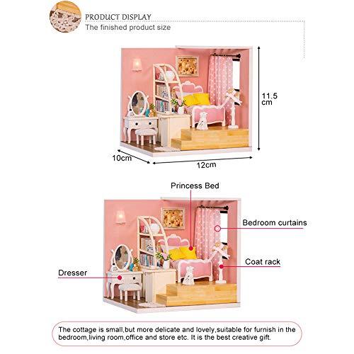Kit de casa de muñecas en miniatura, casa de muñecas en miniatura, montaje de bricolaje, decoración sin y de seguridad para niños adultos para ensamblar regalos de cumpleaños(M-012 standard, blue)