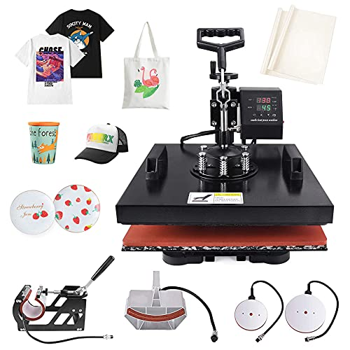 "Seeutek Heat Press 15""x15"" Shirt Press 5 in 1 Machine 360-Degree Swing Away Digital Multifunctional Sublimation Press Machine Combo for T Shirts Mugs Hat Plate Cap"