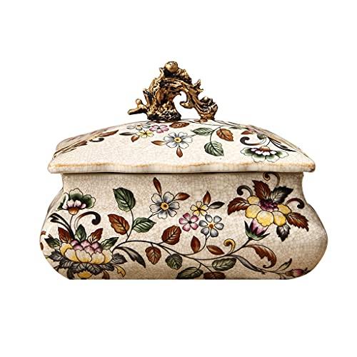 cajas para joyas Caja De Joyería Retro Caja De Almacenamiento De Caja De Joyería De Porche De Cerámica De Alta Temperatura Europea (Color : Beige, Size : 20 * 14 * 15cm)