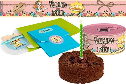 Kuchen für Dich einfach nur so   Kuchen in der Dose   Personalisiert mit Wunsch Namen und Geschmack   Geschenk   Geschenkidee (Schoko-Kirsch, Rosa)