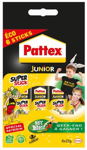 Pattex Junior Super-Stick lijm, transparant, Super Stick, 22 g, 6 stuks