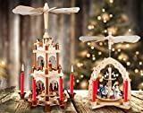 Brubaker Weihnachtspyramide Holzpyramide - Natur - 3 Etagen - 45 cm Höhe - handbemalte Figuren - 5
