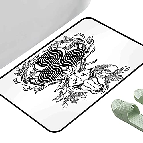 Soft Area Children Baby Playmats Celtic Deer Skull with Native American Feather and Celtic Spiral on The Horns Boho Black White 23.5' x 15.5' Rectangle Polyester Area Rug Mat
