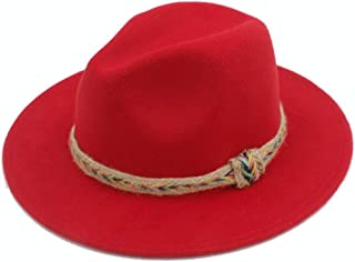 Fedora Cap Men Women Wool Fedora Hat Casual Wild Jazz Hat Panama Church Hat with Belt Dance Party Hat Size 56-58CM Felt hat (Color : Red, Size : 56-58)