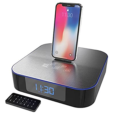 Azatom MoreAudio Nox Lightning Dock Speaker for iPhone 5 5S 5C 6 6+ 6S, 7 & 7, 8, iPhone X, iPad Air Mini iPod Touch Nano - Wireless Bluetooth FM Radio Dual Alarm Clock - Remote Control from Azatom®