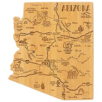 Totally Bamboo Destination Arizona State Shaped Serving and Cutting Board Includes Hang Tie for Wall Display