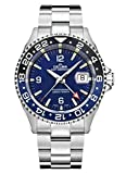 Svizzero Sport orologio–DELMA Orologio da uomo–GMT Meridian, Ø 43mm, Blu