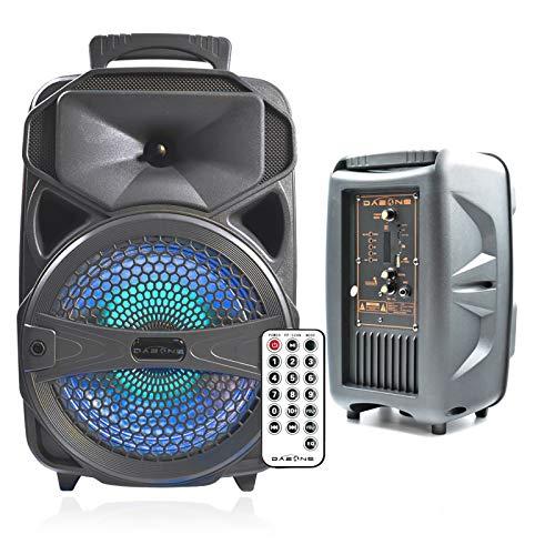 """FullBerg Tragbarer Bluetooth Lautsprecher 8"""" mit Buntem LED-Licht, Wireless Mobile Partylautsprecher mit FM Radio/USB/SD Slot/Karaoke/Remote Control für Weihnachten Party"""