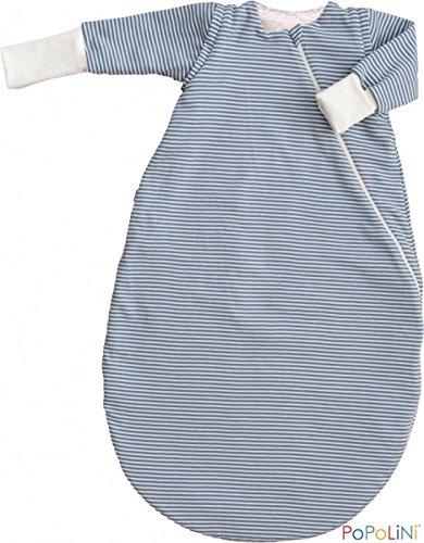Popolini iobio Schlafsack Winterschlafsack Vario Interlock/Teddyplüsch GOTS Blau-Gestreift L=110cm