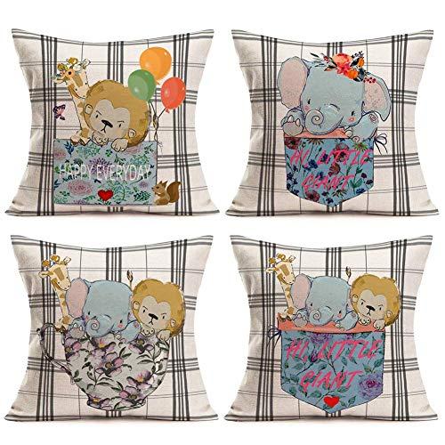 Juego de 4 fundas de cojín con diseño de elefante, león, jirafa con flores y globo, palabras dulces, 45,7 x 45,7 cm, algodón y lino, fundas de almohada vintage de búfalo