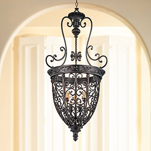 French Scroll Rubbed Bronze Foyer Chandelier 22 1/2