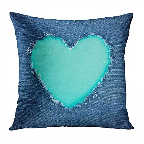Funda de almohada azul vintage con forma de corazón copia espacio roto denim jeans romántica funda de cojín 40,6 x 40,6 cm - verde azulado 40,6 cm x 50,6 cm