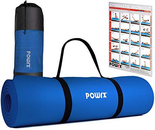 POWRX Gymnastikmatte Yogamatte Premium inkl. Tragegurt & Tasche sowie Übungsposter I Sportmatte Phthalatfrei, SGS geprüft, 183 x 60 x 1 cm I Matte hautfreundlich I versch. Farben (Dunkelblau)