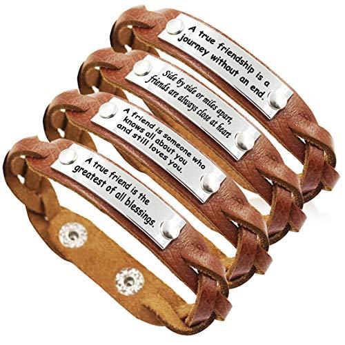 YOYONY Men's/Women's Inspirational Message Braided Leather Bracelets/Bangles for Sports.