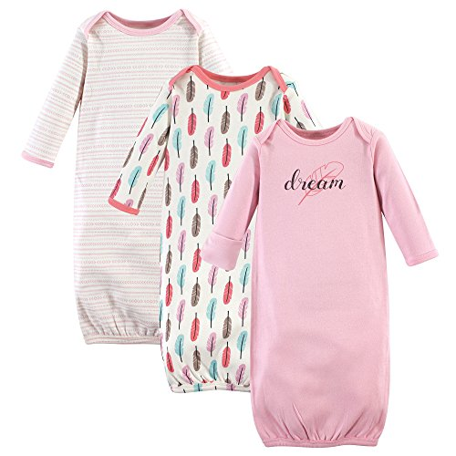 Touched by Nature Unisex Baby Organic Cotton Gowns, Feathers, 0-6 Months