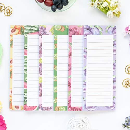 """Peach Tree Shade Magnetic Notepads, 6-Pack 60 Sheets Per Pad 3.5"""" x 9"""", Assorted Fruit Shapes, for Fridge, Kitchen, Shopping, Grocery, To-Do List, Memo, Reminder, Book, Party, Stationery, (Fruitnotes)"""