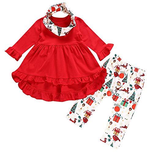 Mamum 3 PCs Tout-Petits Bébé Fille Princesse Robe + Pantalons + Écharpe Vêtements de Noël Ensemble (100(18-24Mois))