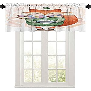 Short Straight Drape Valance, Cute Little Fox and Bird on His Head Tea Time Kids Nursery Friends Baby Theme, 42″ W x 18″ L Curtain Valance Window Treatment for Living Room, Green Orange
