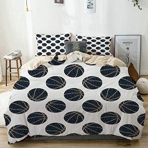vhg8dweh 3D Digital Print Bedding Sets with 2 Pillow Shams,Beige,Abstract arty basketball,3 Piece Duvet Cover Sets Single Size