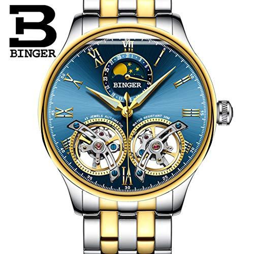 FAPROL-BINGER Luxuriöse Uhr, Mechanische Armbanduhr Für Herren Leuchtende Zeigeruhren Mondphasen- Und Kalenderanzeige Merkmale Gold+Blue