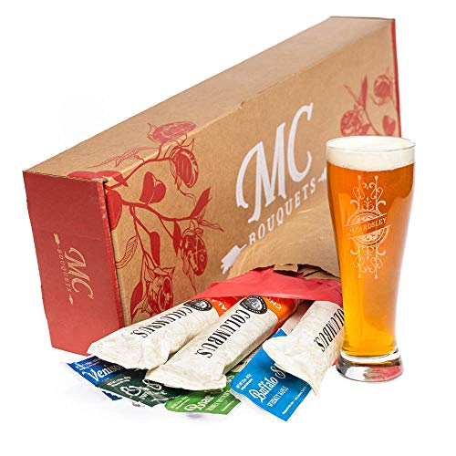 Exotic Meats Grand Bouquet & Personalized Pint Glass – Includes 3 Salami Chubs & 4 Exotic Jerky Sticks – A Fun And Flavorful Meaty Surprise
