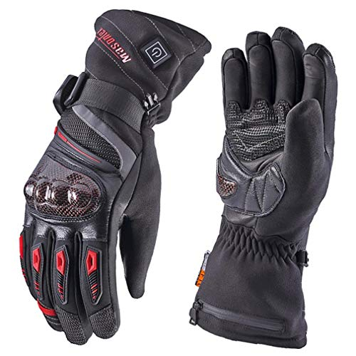 Heated Gloves for Men,Masontex Motorcycle Cycling Gloves Leather Snow Mittens Hand Warmers with Battery US Size M