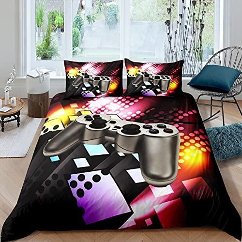 Gamer - Juego de funda de edredón para juegos de cama y ropa de cama para niños, niñas, niños, adolescentes, videojuegos, colcha Super King con 2 fundas de almohada