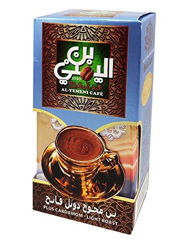 EL - Yemeni EL Yemeni ELYemeni Original Turkish Coffee Cafe Arabic Arabian Arabica Ground Roasted Mud Coffee ( Plus Cardamom Coffee Light Roast 3.5 oz / 100 gm )