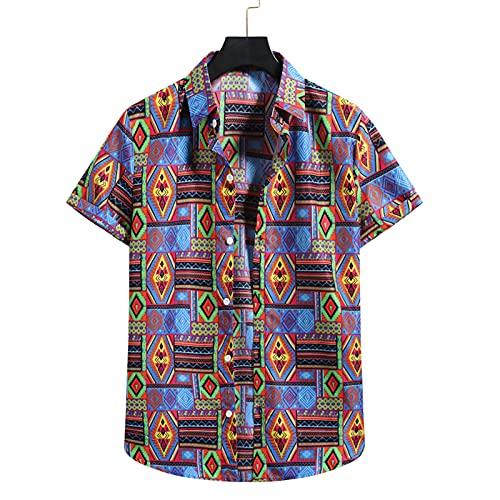 SSBZYES Camicia da Uomo Camicia a Maniche Corte da Uomo Camicia da Spiaggia Estiva Camicia a Fiori con Risvolto Sciolto Casual Hawaiana Taglia Ou