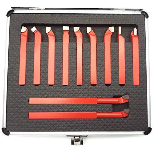 11pcs 10x10 mm, punta de carburo conjunto de bits de bits de bits de fresado soldado de fresado para torno CNC de metal, soporte de herramientas de de soldadura Perfil de medición de herramientas de c