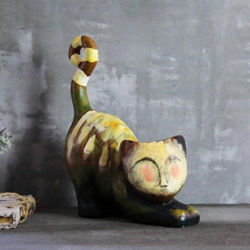 Moderne Minimaliste Résine Sculpture Peinture À L'huile Kitty Artisanat Ornements Rétro Salon Chambre Bureau Décorations De Bureau Rollsnownow (taille : 17 * 37cm)