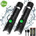 iToncs Rechargeable Flashlight, Portable Ultra Brightest Handheld LED Tactical Flashlights (batteries included), High Lumen Light, Waterproof, Zoomable, for Emergency, Indoor Outdoor Use(2 pack)