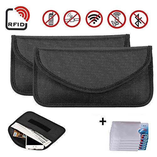 Newseego Bolsa 2X para señal RFID   Bolso antirrobo RFID Faraday con Tarjeta de crédito RFID 5X Gratis para el Bloqueo de la Llave de Bolsillo para el automóvil, Faraday RFID Key Fob Bag - (Negro)