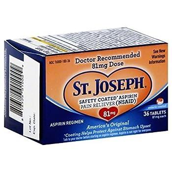 St Joseph Aspirin Safety Coated 81mg 36 Tablet  2 Pack