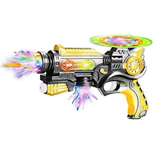 Aseenaa Space Toy Gun with Sound and Light for Kids Toy | Rotating Fan with 3D Lights | Toy Gun for Kids and Children | Colour : Multi Color | Set of 1
