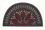 De'Carpet Felpudo Entrada Casa Original Moderno Flocado Mosaico Rojo Media Luna 40x70