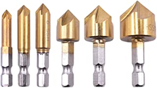 ULTECHNOVO 6 pcs Countersink for Cutting High-speed Steel Chamfer Deburring Tool Set Through Insulation Boards Plastic Aluminum Plate PVC Sheet 120GR