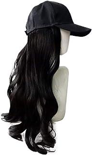 長い黒のかつら、帽子かつらシンプルなかつらファッションかつらキャップ自然なかつら女性の耐熱性のための長い波状の合成かつら