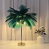 Lámpara de mesa, lámpara de mesita de noche, inteligente para fiestas/dormitorios, estilo nórdico, con plumas, decoración romántica, bombilla incluida