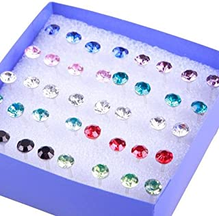 20 Pairs Pretty Crystal Rhinestone Round Earrings Ear Studs Allergy Free Pin Mixed Color