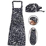 Kit Delantal de Cocina + Gorro de Cocina Delantal Babero Delantal Largo con Bolsillo Negro para Hombre Mujer Unisex Chef Cocinero Camarero Hogar Restaurante Bar Pandería Hotel (Cuchillo y tenedor)