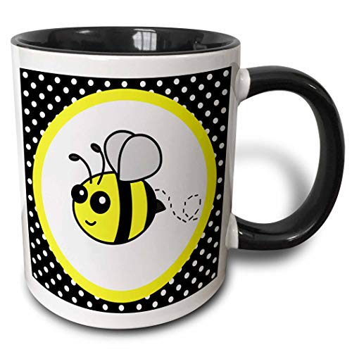 Novelty Ceramic Mug 11 oz Funny Coffee Mug Unique Gift Cute Yellow Bumble Bee On Black and White Polka Dots Two Tone Black Mug Multicolor Coffee Cup wiht Colored Rim and Handle for Men Women
