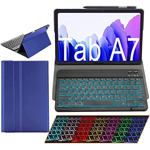 LGQ Adecuado para Samsung Galaxy Tab A7 Funda con Teclado PU Funda Cuero En Folio Teclado Inalámbrico con Retroiluminación Bluetooth Adecuado para 2020 Galaxy Tab A7 10.4'SM-T500/T505/T507,Azul