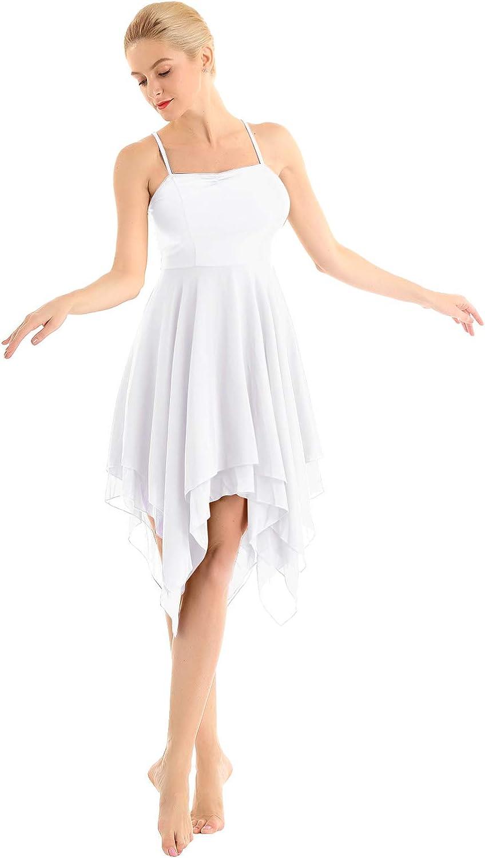 Iiniim Lyrical Women Ballet High Low Dance Flowy Dress Leotard Adult Camisole Dresses