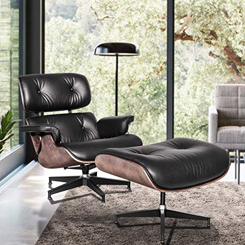 Lounge Chair and Ottoman, Mid Century Modern Classic Design, Top Grain Leather, High-Density Wood