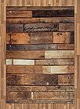 ABAKUHAUS di Legno Tappeto, Brown Rustico Piano Sguardo, Tessuto Piatto per Soggiorno Camera da Letto Sala da Pranzo, 160 cm x 230 cm, Marrone