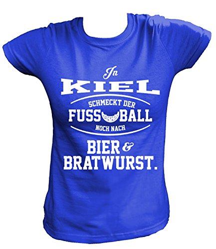 Artdiktat Damen T-Shirt - In Kiel schmeckt der Fußball noch nach Bier und Bratwurst Größe M, blau