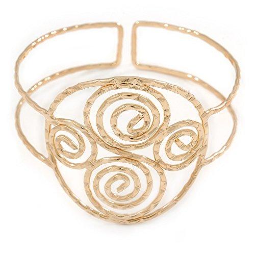 Griechischen Stil Twirl Oberarm, Armbinde Armband in gehämmert Gold-Plating–verstellbar
