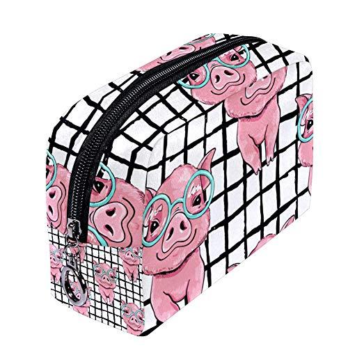 Shiiny Pink Pig avec lunettes, trousse de maquillage pour femme, petite trousse de maquillage pour les voyages, sacs de toilette étanche, multifonction et portable